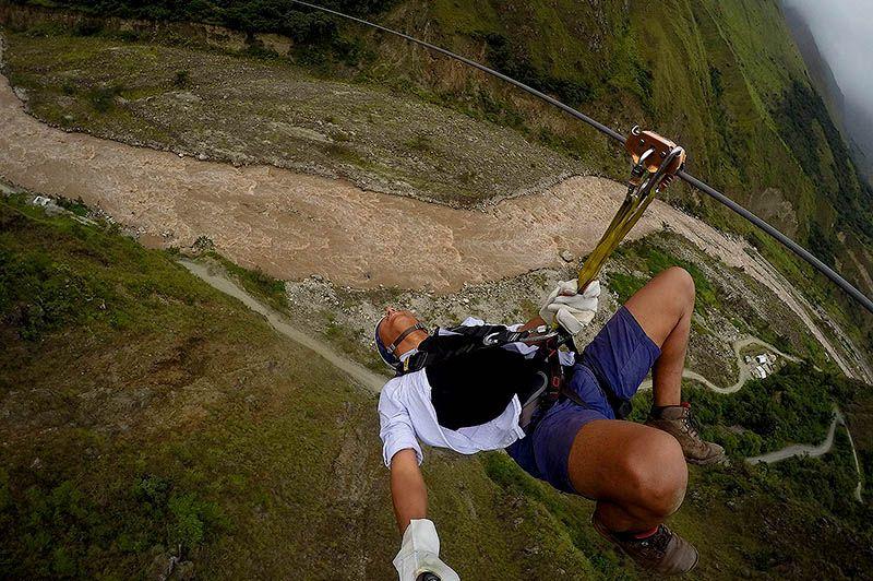 zipline, climbing rock and suspension bridge in the salkantay trek