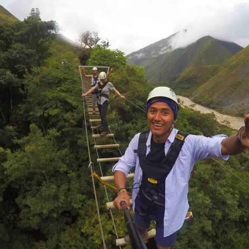 suspension bridge in the salkantay trek to Machu picchu