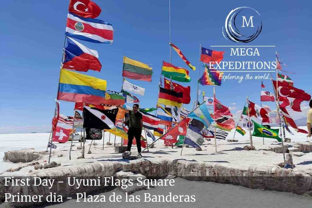 First Day - Uyuni Flags Square in the Salt Flat of Bolivia