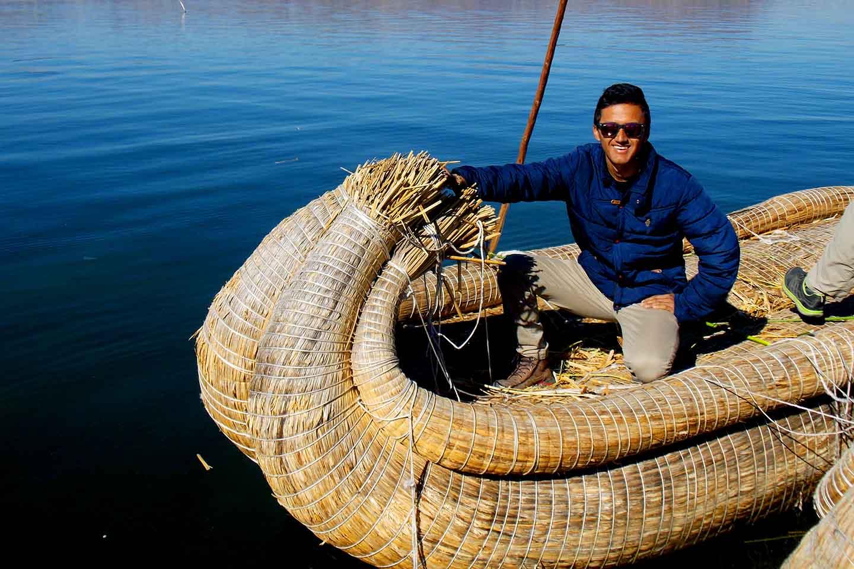 Urus floating islands and Taquile island in the Titicaca lake of Peru.