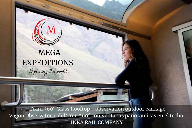 Train 360° Glass Rooftop - observation outdoor carriage Vagon Observatorio del Tren 360° con Ventanas panoramicas en el techo. INKA RAIL COMPANY