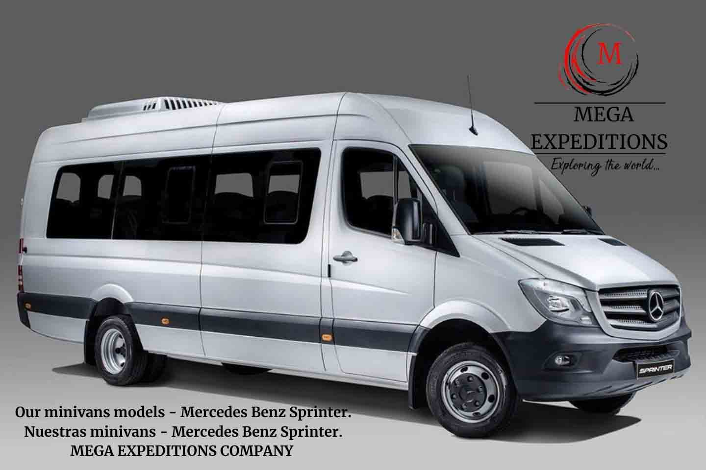 Our minivans models - Mercedes Benz Sprinter. Nuestras minivans - Mercedes Benz Sprinter. MEGA EXPEDITIONS COMPANY
