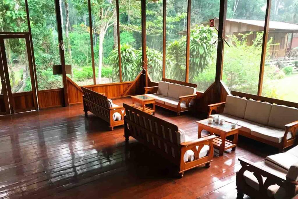living room in the puerto maldonado lodge in the amazon of peru