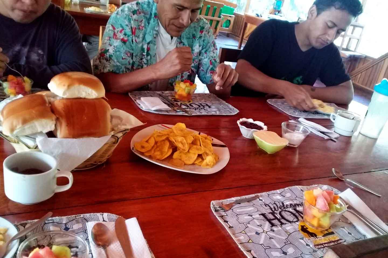breakfast living room in the puerto maldonado lodge in the amazon of peru